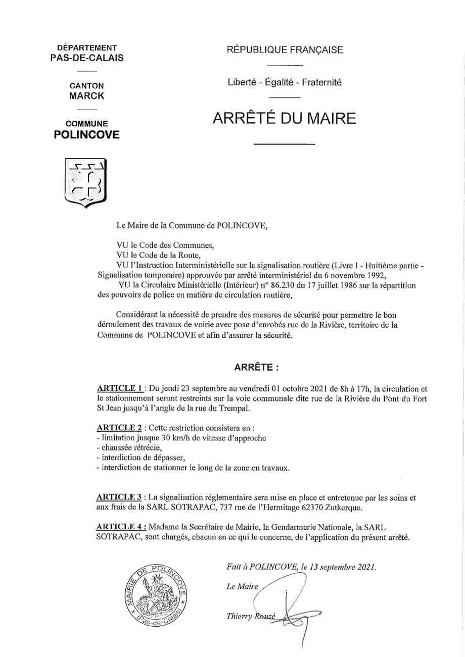 Arrete restriction circulation rue de la riviere 23 sept au 01 oct