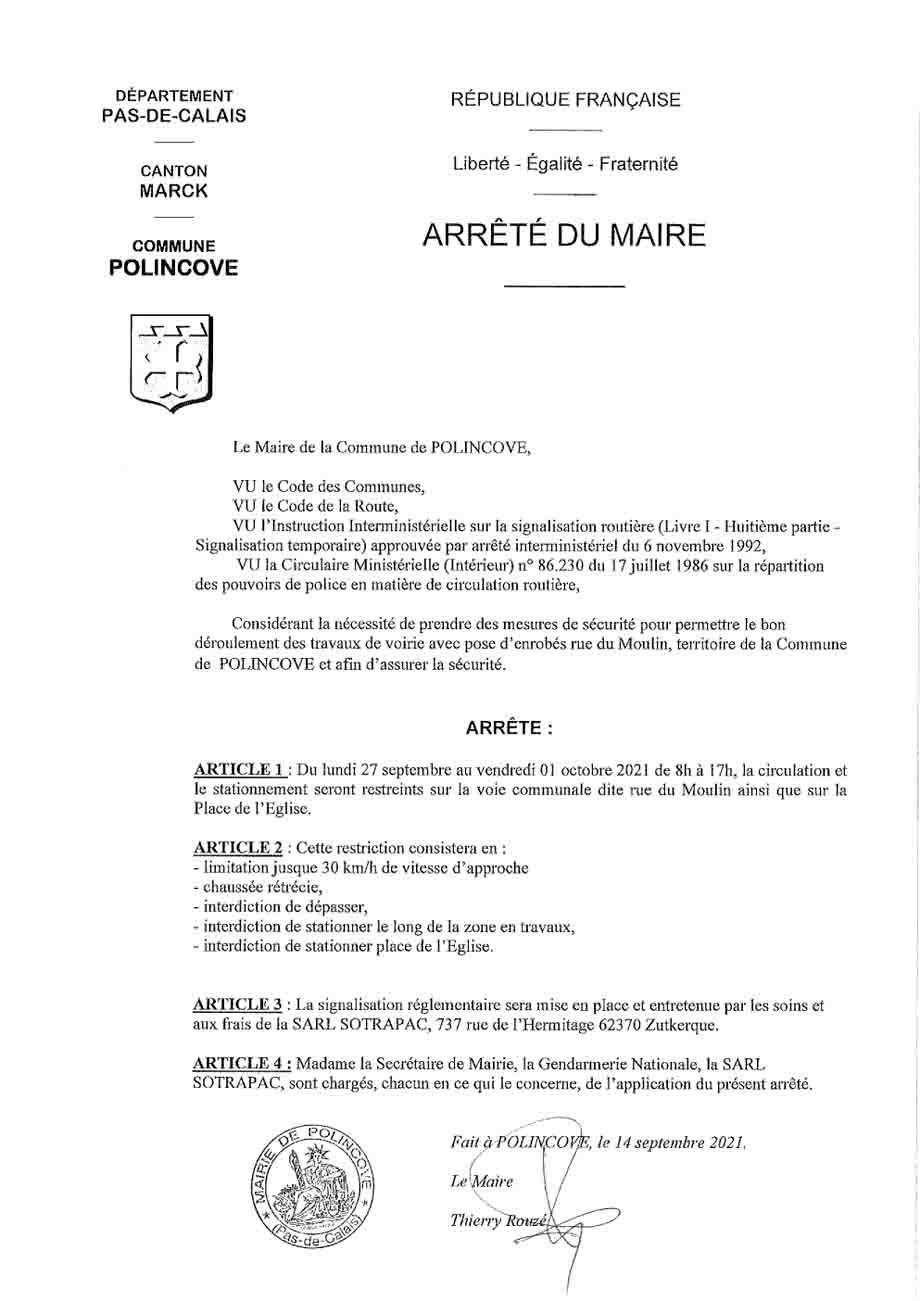 Arrete restriction circulation rue du moulin du 27 sept au 01 oct