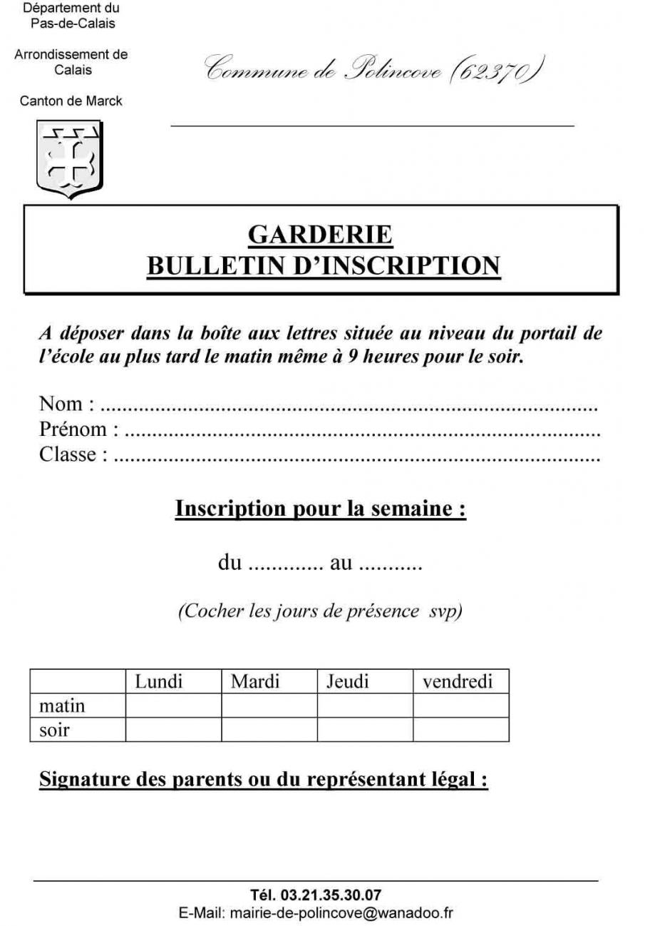 Bulletin d inscription garderie
