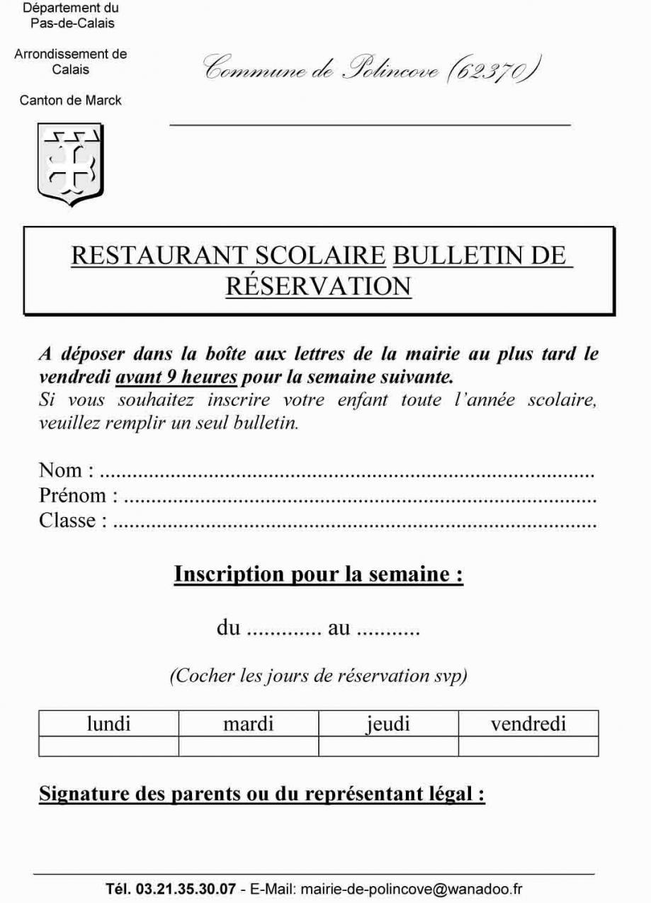 Bulletin de reservation de la cantine scolaire