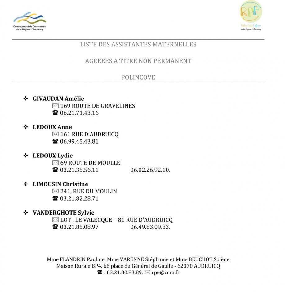 Liste am polincove maj decembre 2020