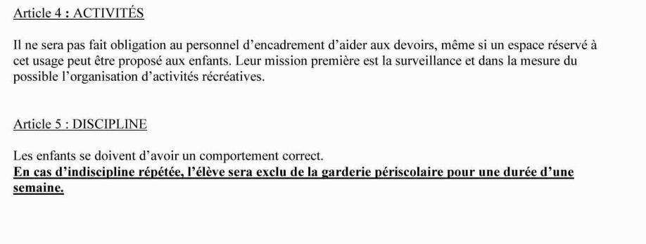 Reglement de la garderie 2