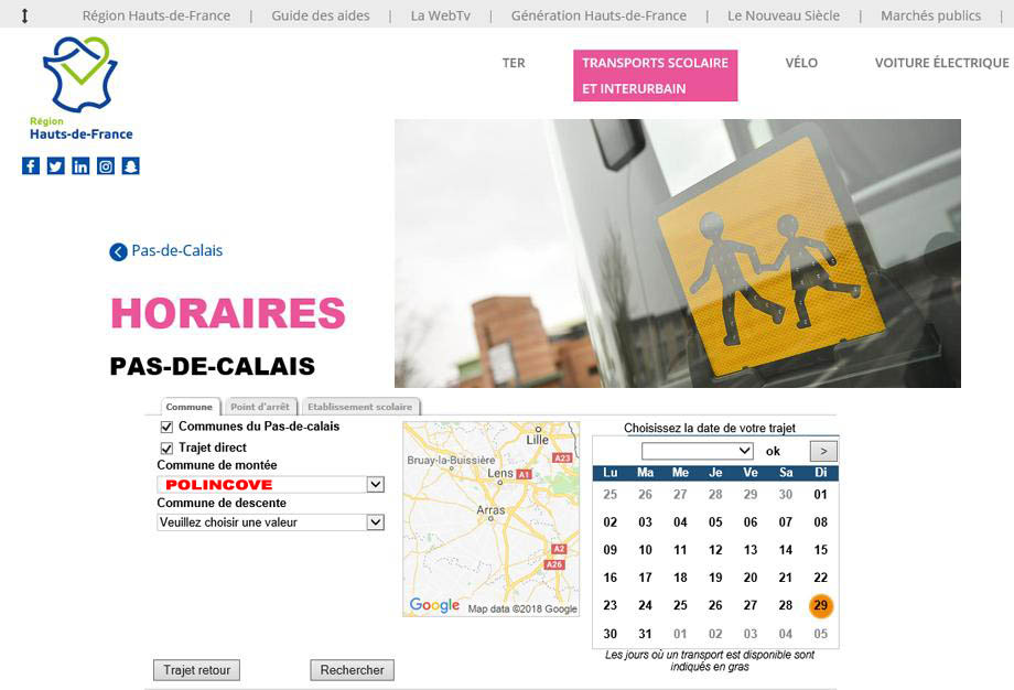 Reseau transport scolaire polincove lacleweb